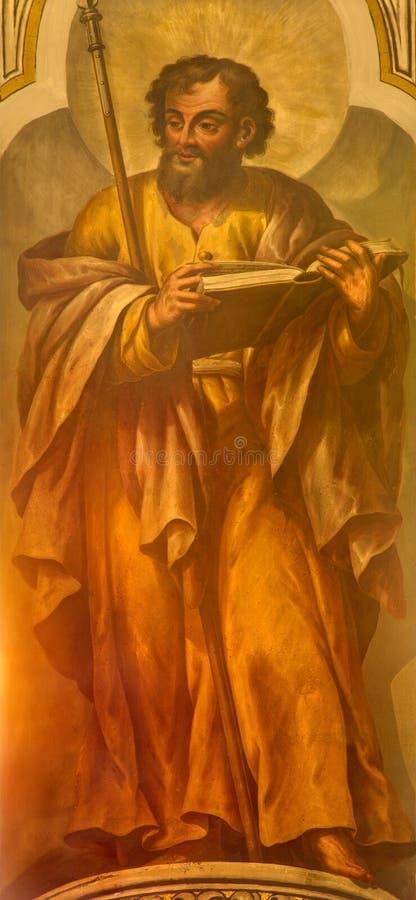 Seville - freskomålningen av St Thomas aposteln av Lucas Valdes (1661 - 1725) i den kyrkliga Iglesiaen de Santa Maria Magdalena royaltyfri foto