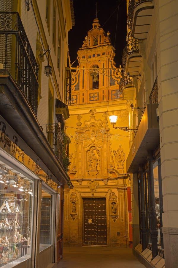 Seville - główny barokowy portal kościelny Capilla de San Jose Lucas Valdes (1716) obrazy stock
