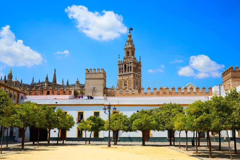 Seville Giralda katedralny wierza od Alcazar zdjęcie royalty free