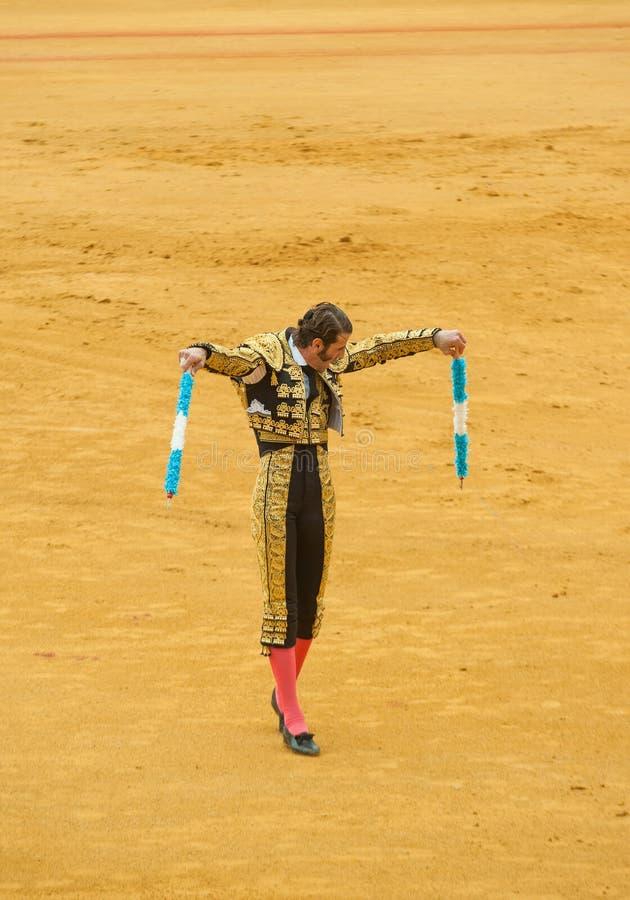SEVILLE HISZPANIA, Kwiecień, -, 28: Matador Juan Jose Padikka przy Maestro zdjęcia stock