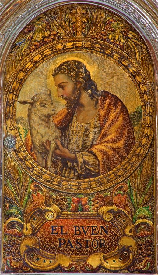 Seville - jezus chrystus jako Dobra baca Maluje na tabernacle w kościelnym Iglesia De San Roque obraz stock