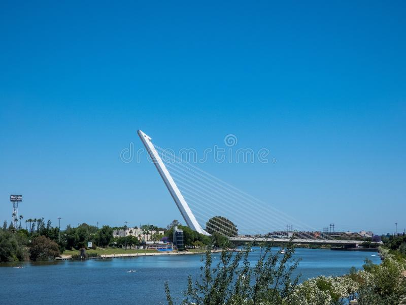 Seville Landscape, Andalucia. View on the river Guadalqvivir and  bridge stock images