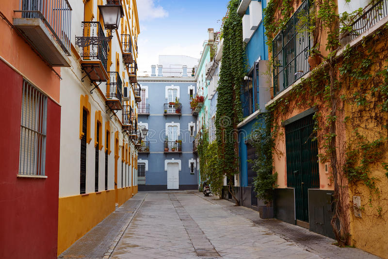 Seville Macarena barrio facades Sevilla Spain. Seville Macarena barrio facades in Sevilla Spain royalty free stock photo