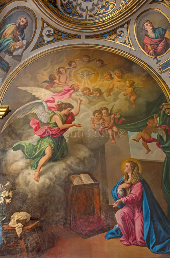 Seville - The neo - baroque paint of Annunciation in church Capilla Santa Maria de los Angeles. SEVILLE, SPAIN - OCTOBER 28, 2014: The neo - baroque paint of royalty free stock photo