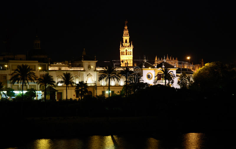 Seville by night stock image