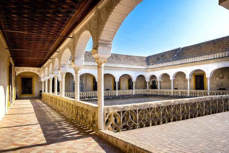 Seville, Patio Principal of La Casa De Pilatos. The building is a precious palace in mudejar spanish style. Spain. Casa de Pilatos is a palace in Seville. The stock photography