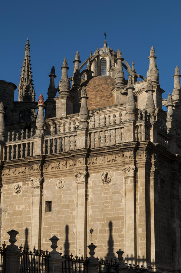 Seville, Sevilla, Spain, Andalusia, Iberian Peninsula, Europe,. Spain, 14/04/2016: architectural details of the Cathedral of Saint Mary of the See, the Seville royalty free stock images