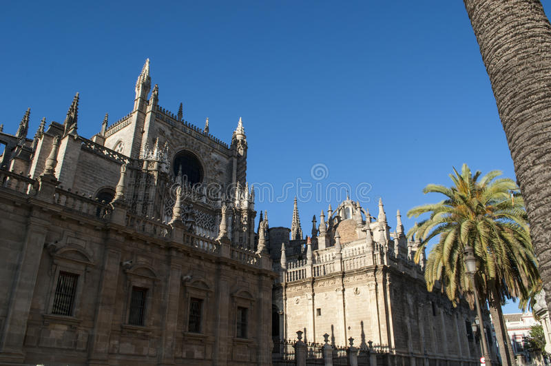 Seville, Sevilla, Spain, Andalusia, Iberian Peninsula, Europe,. Spain, 14/04/2016: architectural details of the Cathedral of Saint Mary of the See, the Seville stock photos