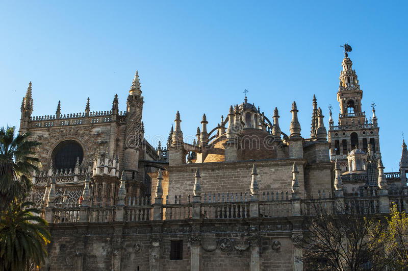 Seville, Sevilla, Spain, Andalusia, Iberian Peninsula, Europe,. Spain, 14/04/2016: the Cathedral of Saint Mary of the See, the Seville Cathedral, former mosque royalty free stock photo