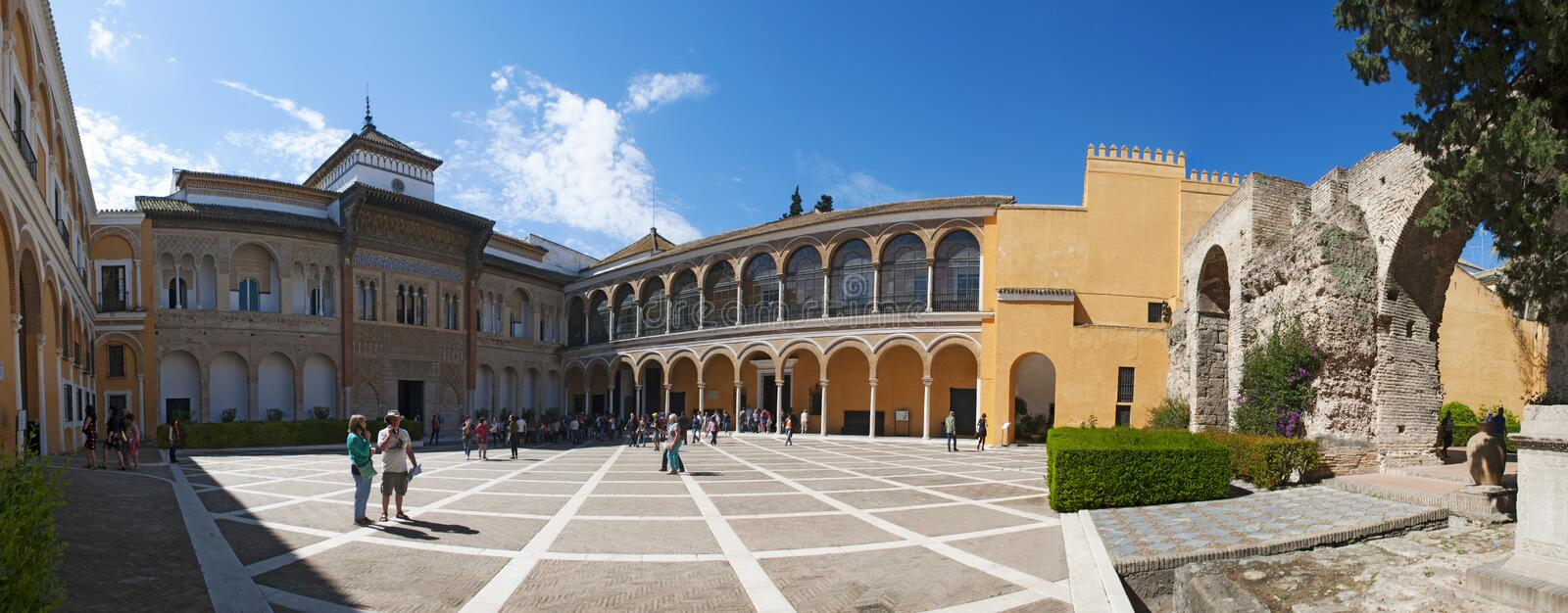 Seville, Sevilla, Spain, Andalusia, Iberian Peninsula, Europe,. Spain 18/04/2016: the Mudejar Palace of Pedro I, designed in Moorish style for a Christian ruler royalty free stock image