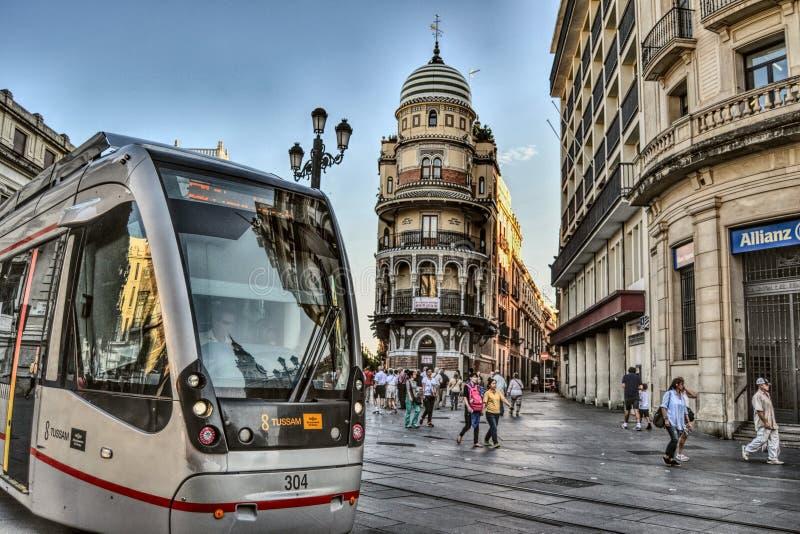 Seville spårvagn royaltyfri bild