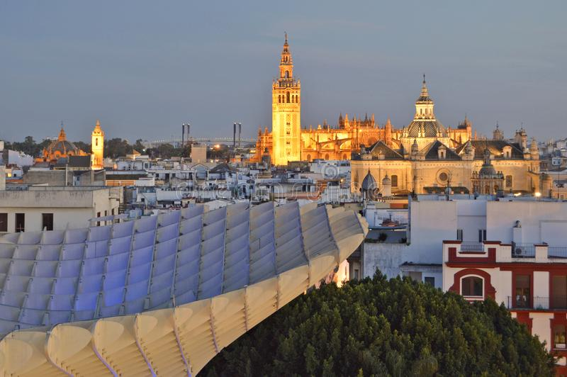 Historic and modern Seville Spain royalty free stock photo