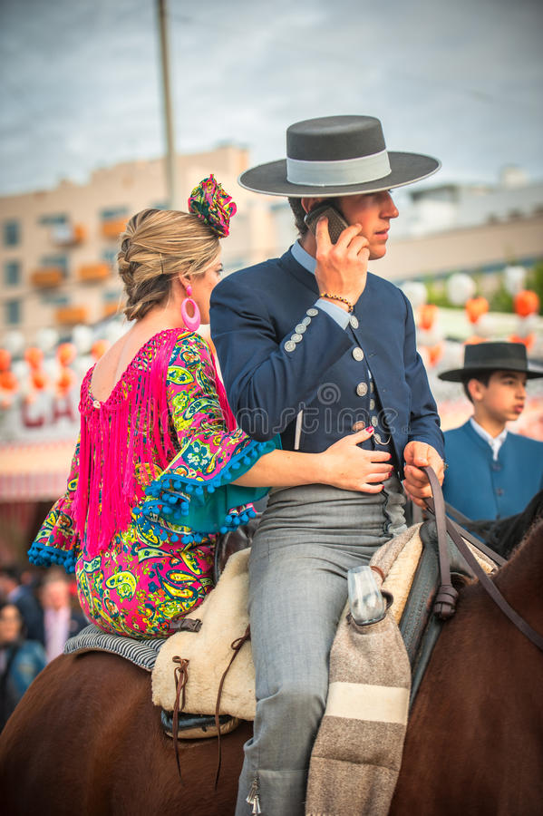 SEVILLE, SPAIN - April, 26: Horse Riders At The Seville S April Editorial Photo
