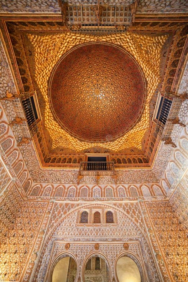 Hall of Ambassadors Alcazar Interior In Seville stock photo