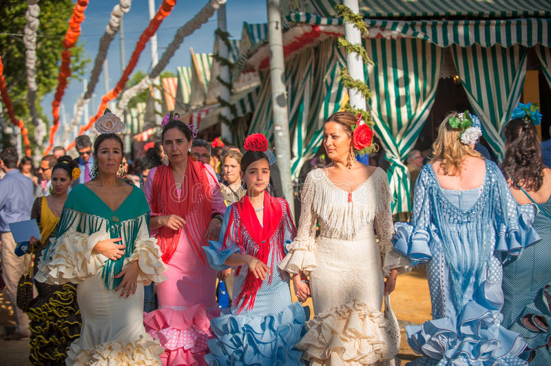 SEVILLE, SPAIN - April, 25: Women in flamenco style dress at the stock photography