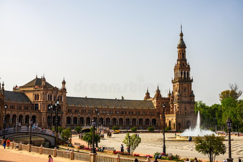 Seville, Spain – 2019. The beautiful Plaza de Espana Spanish Square in Seville, Andalusia, Spain royalty free stock photos