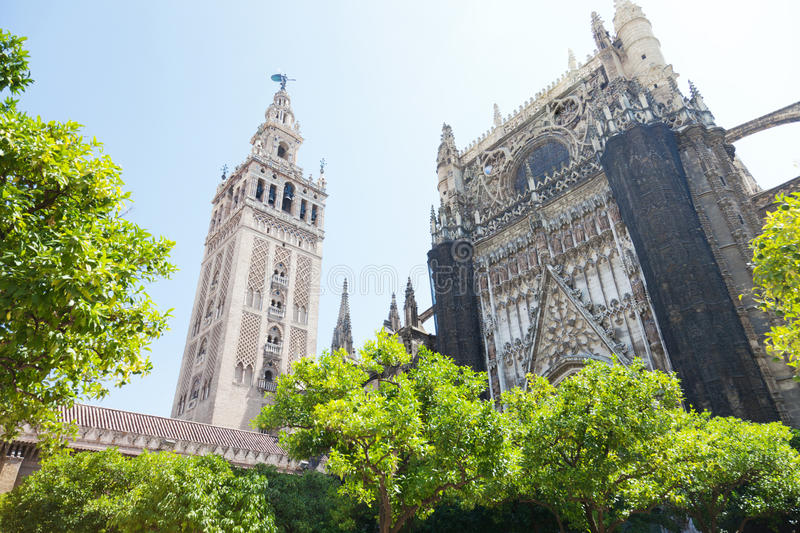 Seville, Spain. Cathedral and GIralda Tower, Seville, Spain stock photo