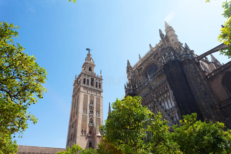 Seville, Spain. Cathedral and GIralda Tower, Seville, Spain royalty free stock photography