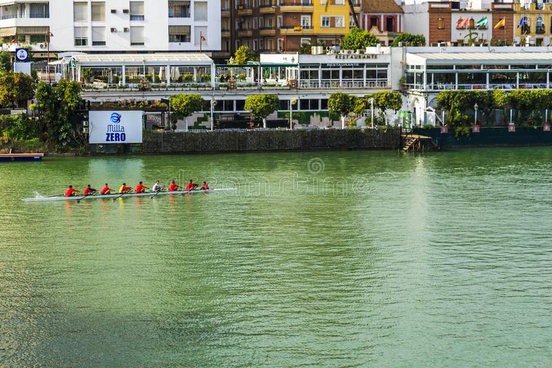 Eight person with a coxswain rowing boat in the Alfonso XII Canal stock images