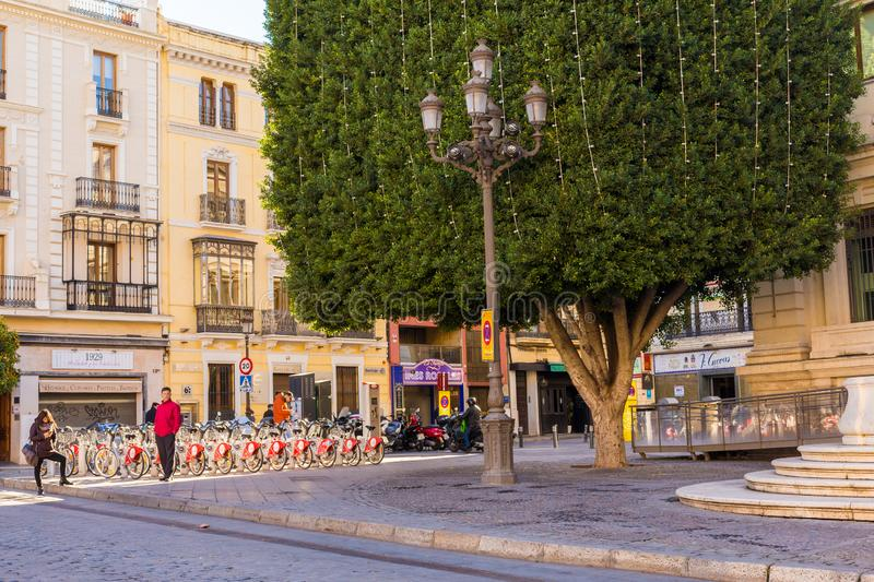 Seville, Spain, January 11, 2019 - A square with beautiful facades of houses and a huge ficus tree trimmed in the form of a cube. And a parking lot for city stock photo