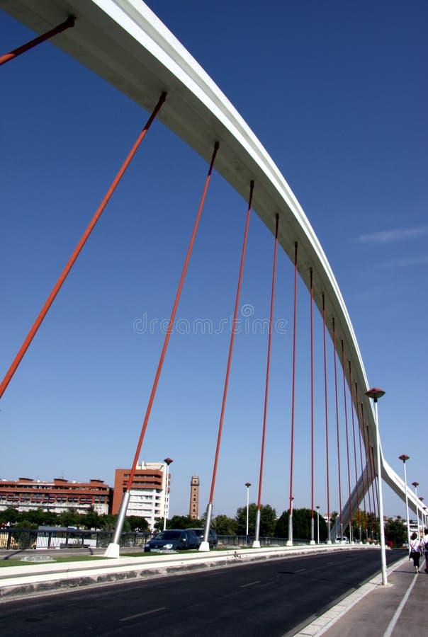 Barqueta Arch Bridge over the Guadalquivir River in Seville stock photography