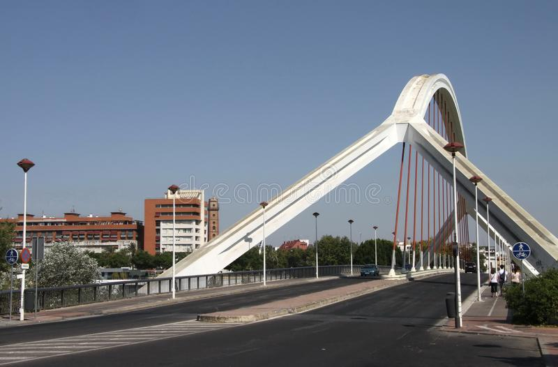 Barqueta Arch Bridge over the Guadalquivir River in Seville royalty free stock image