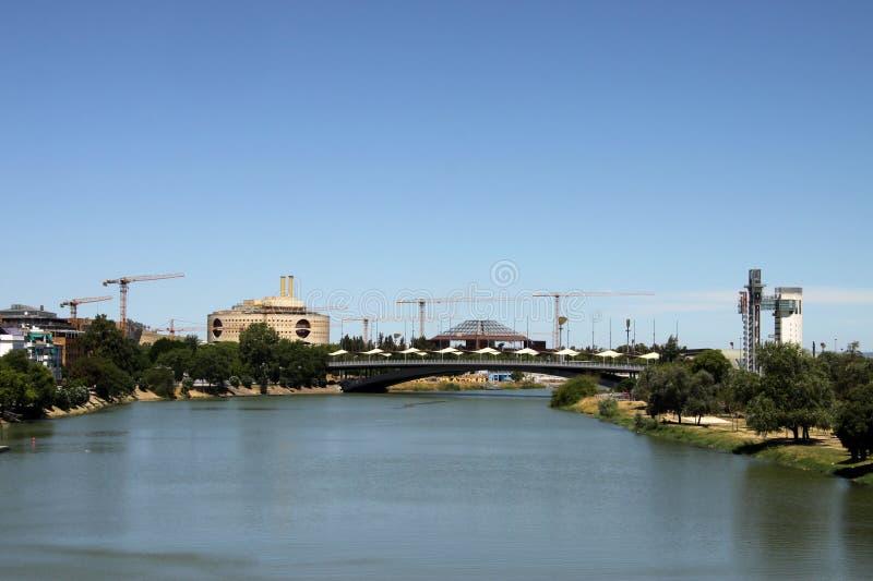 River Guadalquivir passing through the city of Seville stock photos