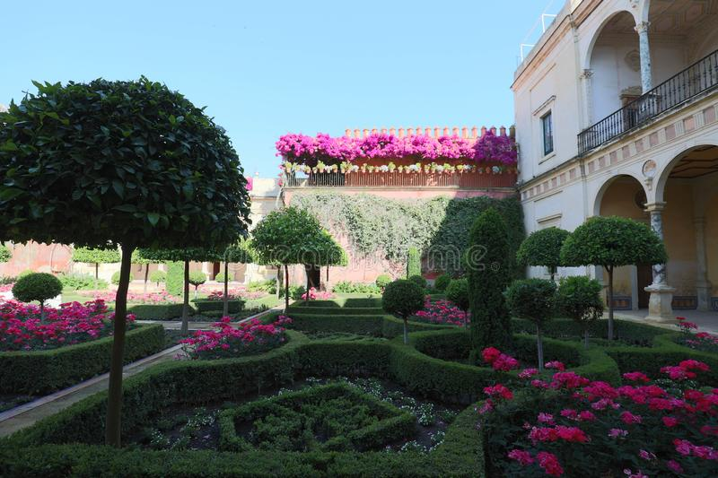 The garden of the Casa de Pilatos in Seville, Andalusia Spain. stock photography