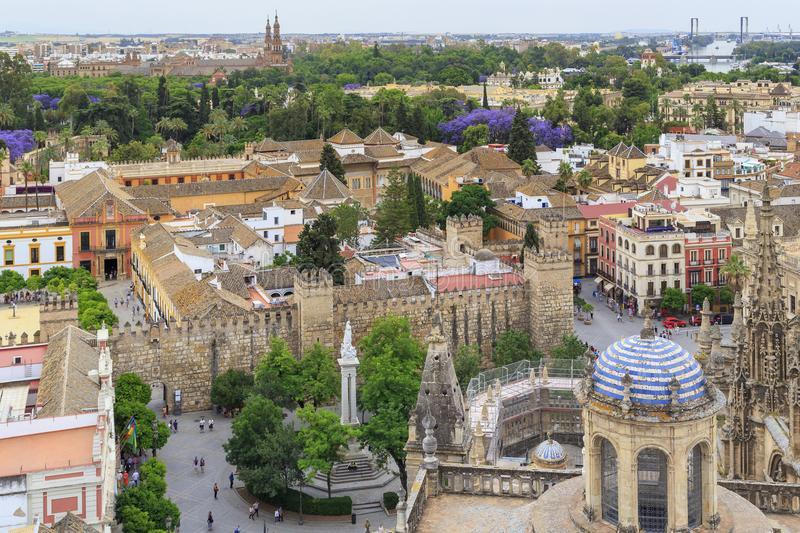 An aerial view of the Alcazar of Seville royalty free stock photography