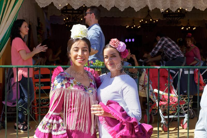 Portrait of Beautiful Women dressed in traditional costumes at the Seville`s April Fair. royalty free stock photos