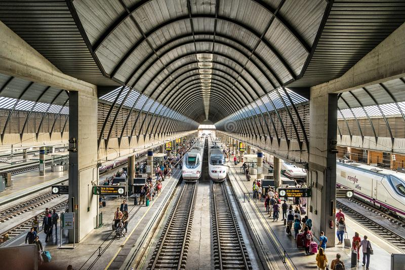Seville Santa Justa railway station. Seville,Spain on 22nd Sept 2017:The Seville Train Station Santa Justa is the third-busiest station in Spain, servicing over stock images