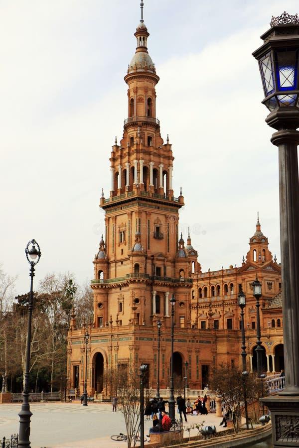 seville spain Spanjoren kvadrerar, Plaza de Espana royaltyfria foton