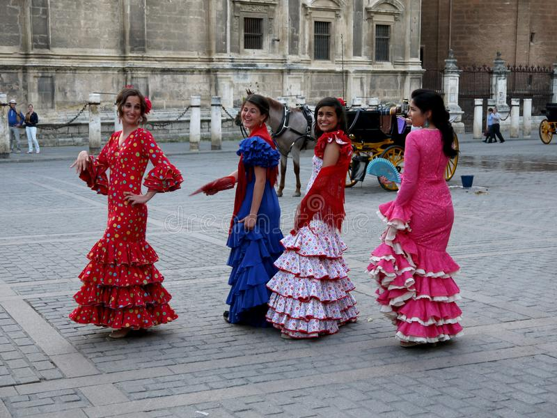 Seville Spain/16th April 2013/ A group of young Spanish ladies i royalty free stock photography