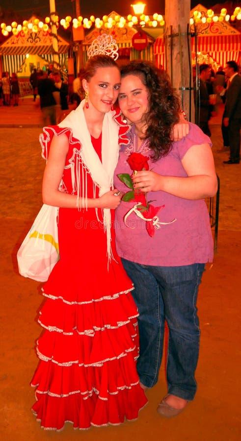 Seville Spain/16th April 2013/härlig ung spansk ladie två arkivbild