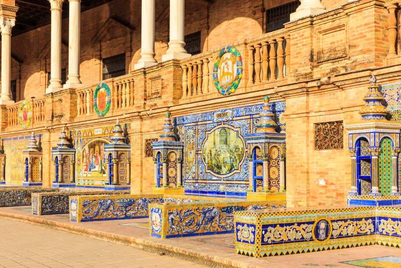 Seville, Spain. Tiled walls of Spanish Square Plaza de Espana stock photo