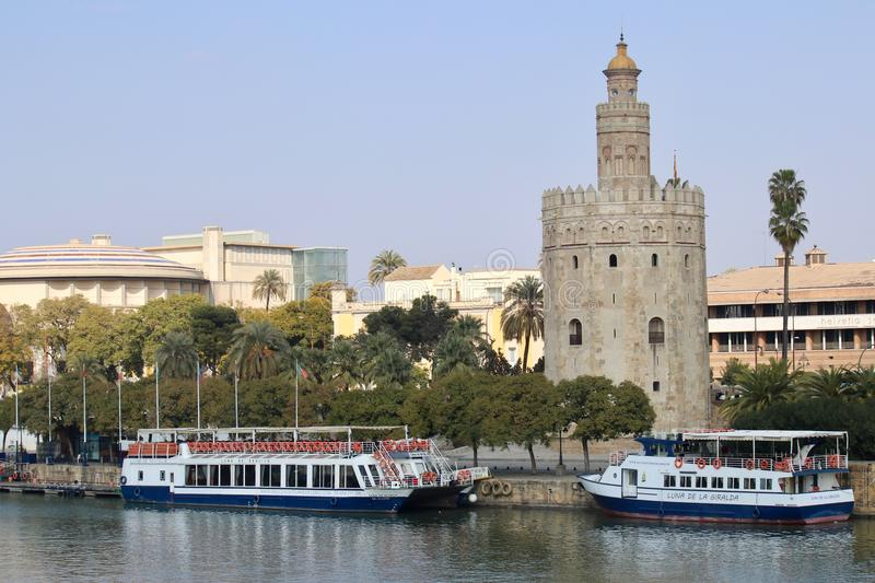 Seville, Spain, tourist boats along the river Guadalquivir royalty free stock image