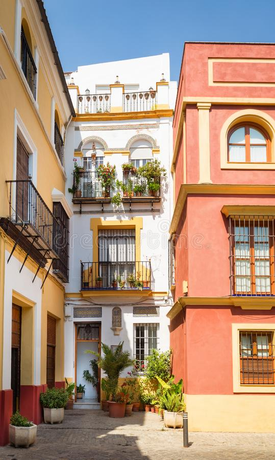 Seville, Spain - Traditional Architecture barrio Santa Cruz district. Seville, Spain - Architecture barrio Santa Cruz district andalusia building colors europe stock images