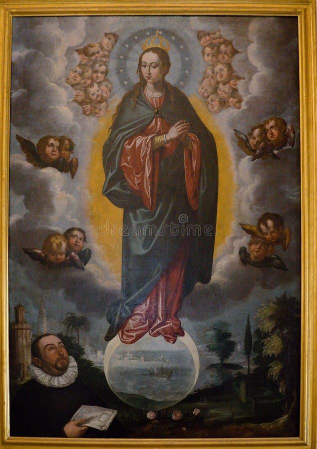 Seville Spanien - Juni 19: En målning inom den kungliga domkyrkan royaltyfria foton