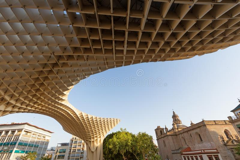 Seville Spanien, modern arkitektur är ¼rgenen Mayer, Metropol slags solskyddSetas de Sevilla juni 2018 för designen JÃ arkivbild