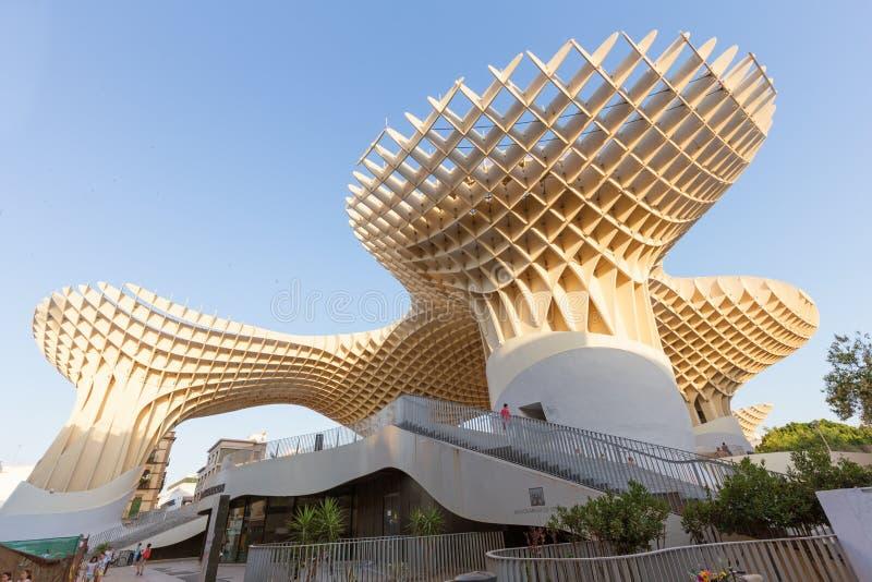 Seville Spanien, modern arkitektur är ¼rgenen Mayer, Metropol slags solskyddSetas de Sevilla juni 2018 för designen JÃ royaltyfri foto