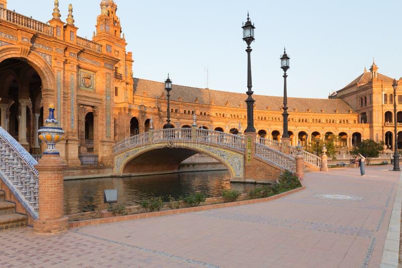 Seville spanjor kvadrerar plazaen de Espana Andalusia, Spanien arkivbild