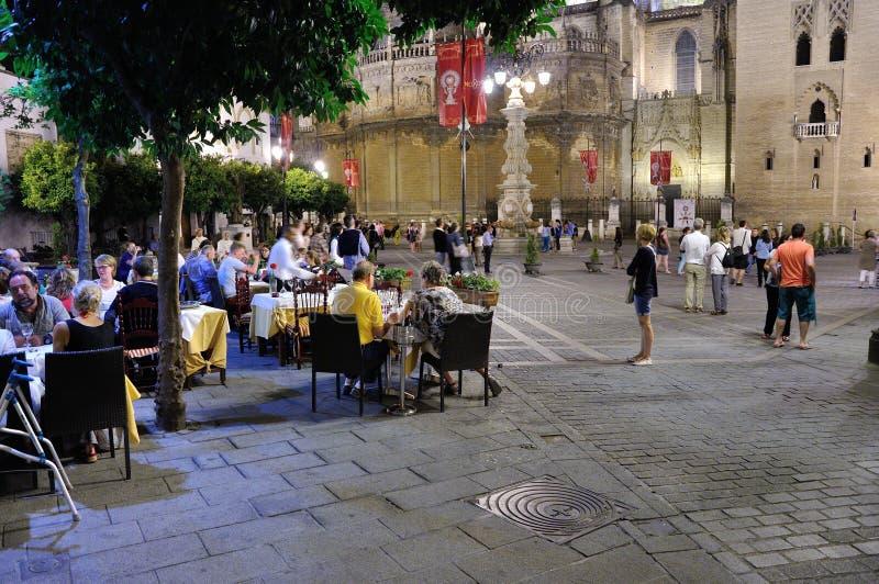 Seville Street at Night stock photo