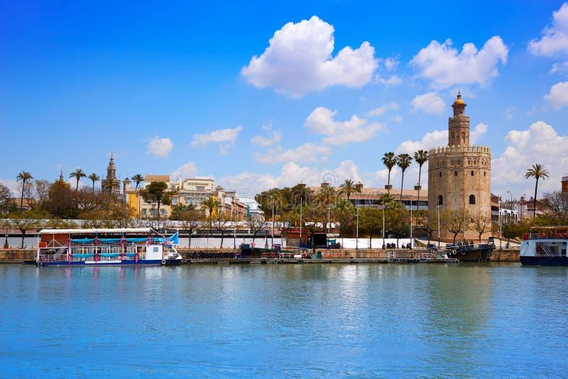 Seville Torre del Oro torn i Sevilla Andalusia royaltyfri fotografi