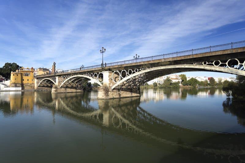 Seville Triana bro royaltyfri fotografi