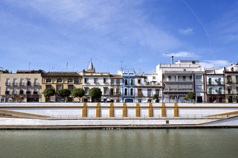 Seville Triana Neighborhood. Famous neighbourhood on the west bank of the Guadalquivir River in Seville, Spain stock photography