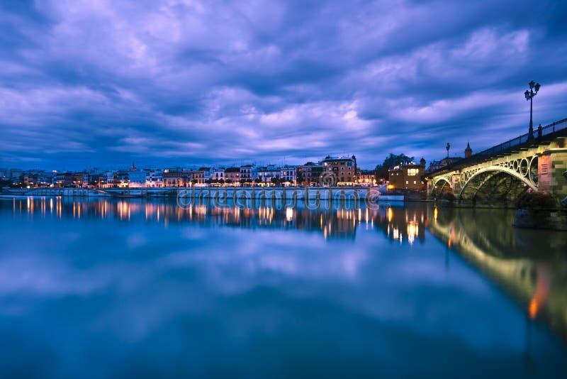 Sevillie, dramatic panorama of the riverside stock image