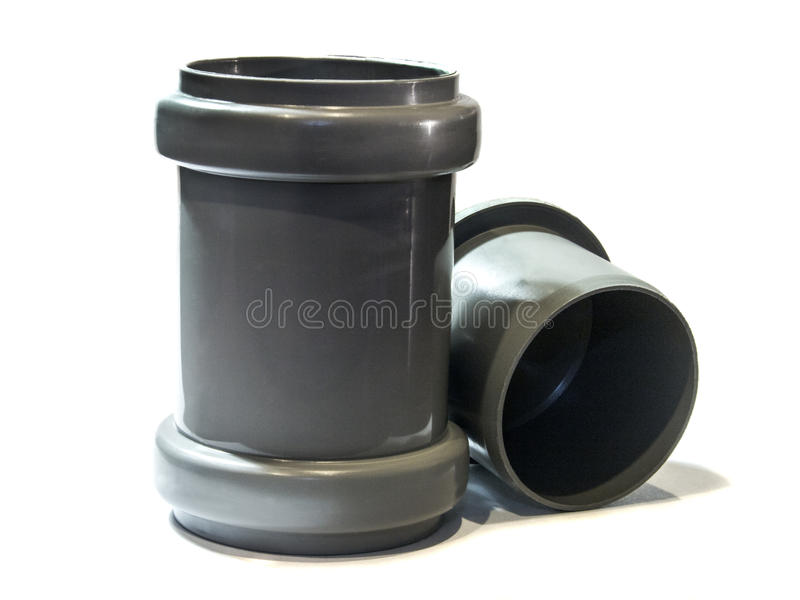 Sewage Coupling with cap. Coupling for plastic sewer pipe plug royalty free stock photos