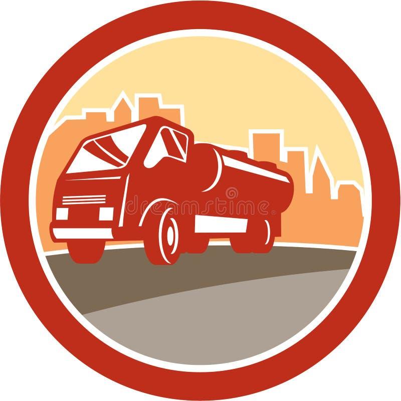 Sewage Drainage Truck Hydro Unit Oval Retro stock illustration
