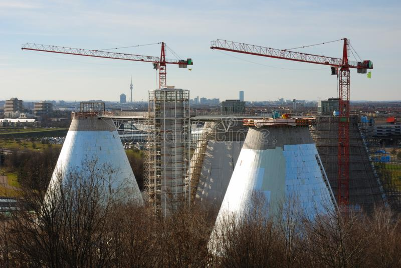 Sewage plant with cranes royalty free stock image