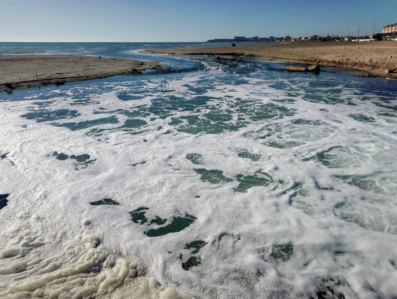 Sewage of purified water stock image